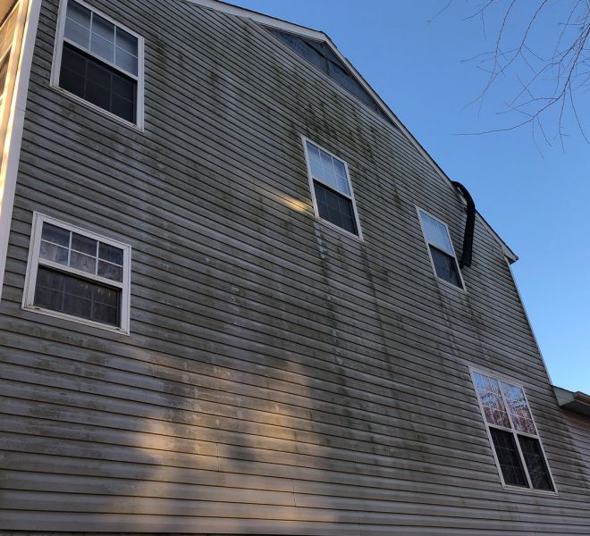 Molded and damaged siding before renovation