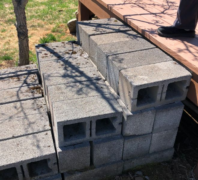 Cinder-block foundation for stairs