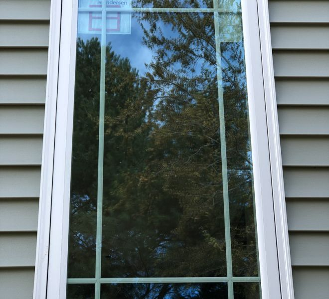 New window installation with white trim