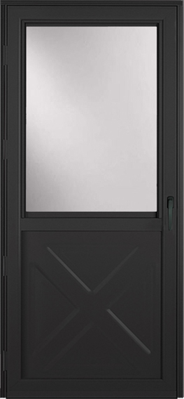 Black Storm door with window