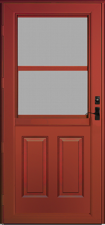 Red/Brown Front door with large window divided horizontally