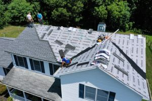 Aerial View of new roof installation