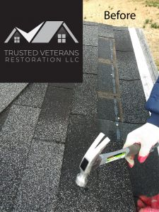 Asphalt shingles missing - Trusted Veterans Restoration, VA