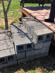 Stairs made out of loose cement blocks - Trusted Veterans Restoration, Paris VA
