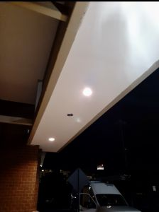 New drywall and lights on a commercial overhang - Trusted Veterans Restoration, Alexandria, VA