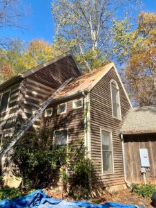 Historical house with skylight issue being fixed - Trusted Veterans Restoration. Leesburg, VA